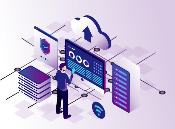 Isometric web hosting vector illustration