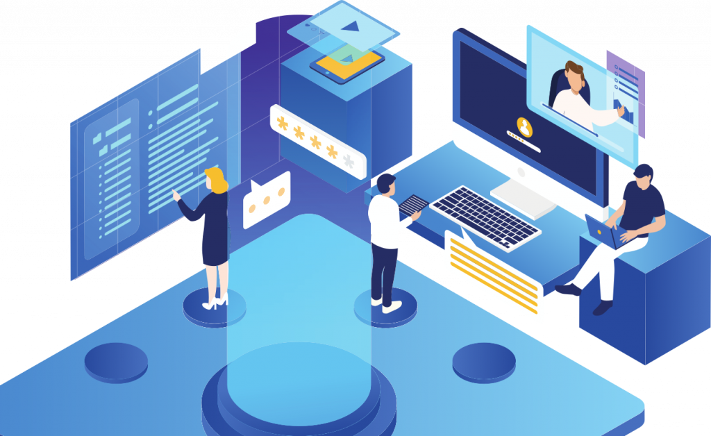 isometric people working with technology illustration