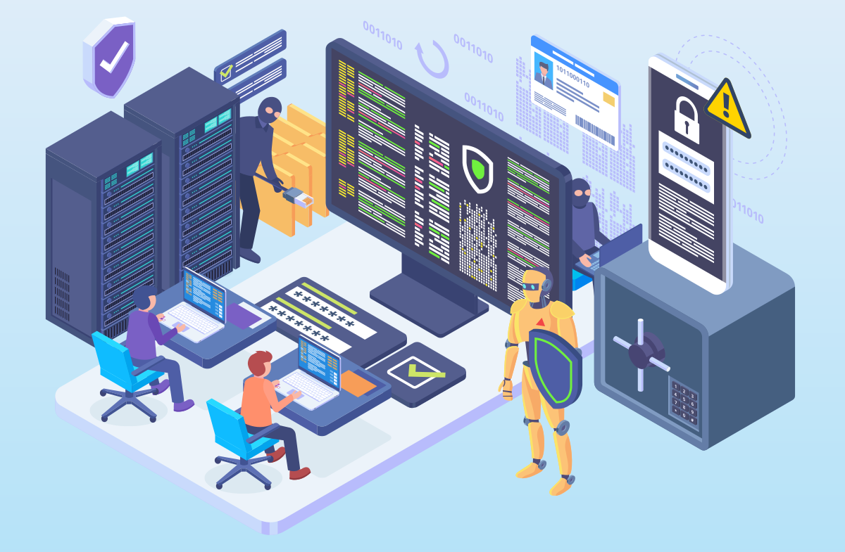 Cyber security isometric illustration